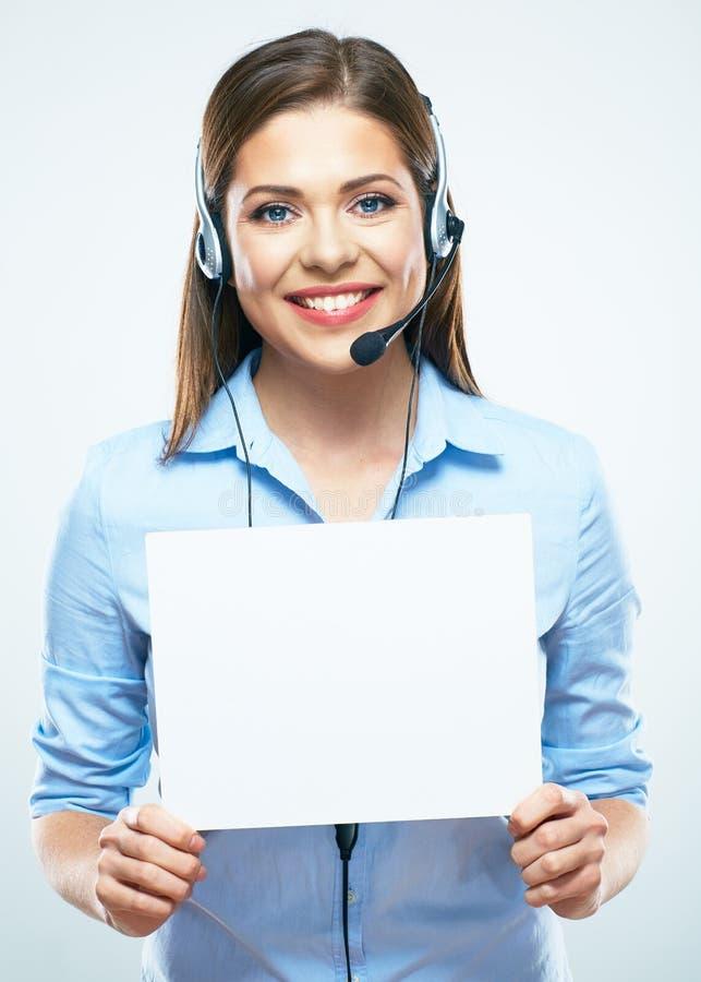 Panneau de signe de blanc de prise d'opérateur de centre d'appels de femme photo stock