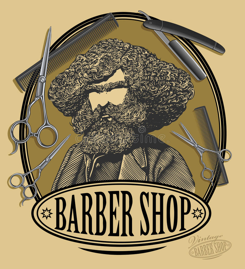 Panneau de signe de salon de coiffure de vintage illustration de vecteur