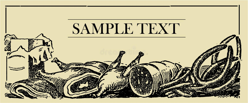 Panneau de signe de viande illustration stock