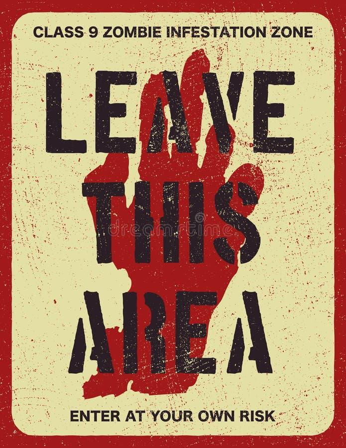 Panneau de signe de manifestation de zombi d'affiche illustration libre de droits
