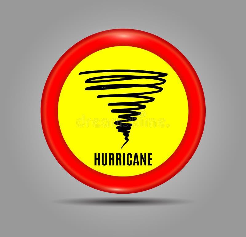 Panneau de signe de temps orageux en avant, indication d'ouragan Bannière graphique de l'avertissement d'ouragan Icône, signe, sy illustration stock