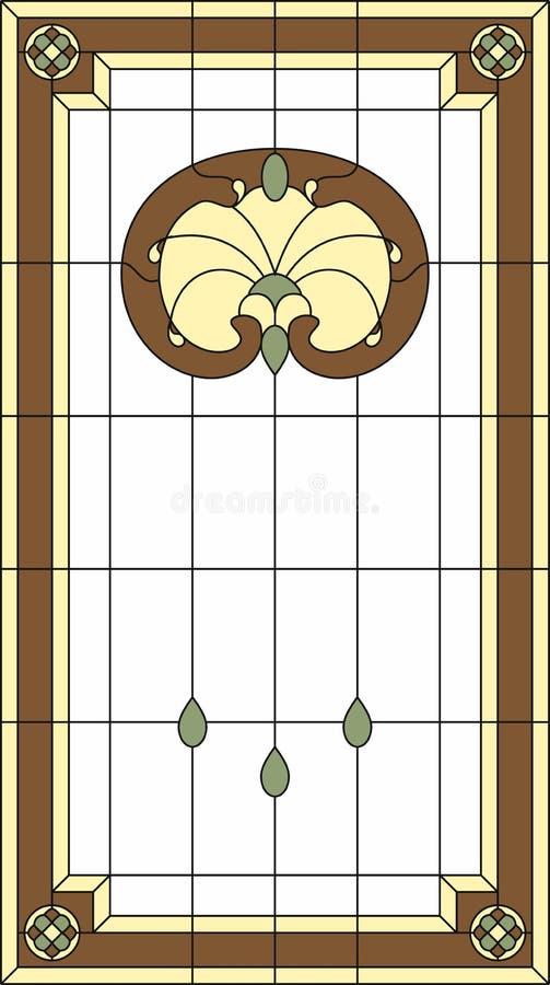 Panneau de verre coloré dans un cadre rectangulaire Type de Nouveau d'art illustration de vecteur