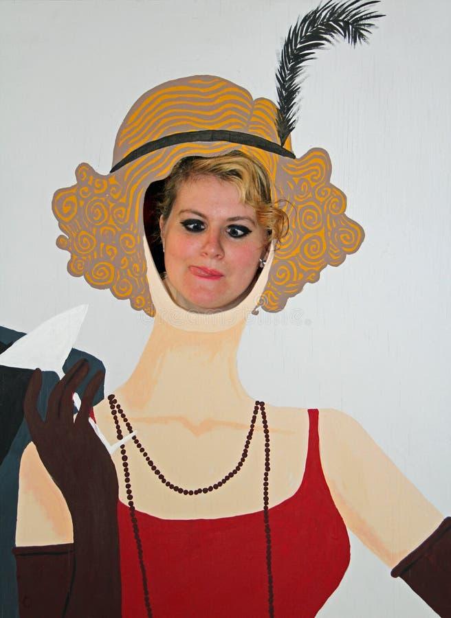 Panneau de visage de fête foraine de victorian de vintage images libres de droits