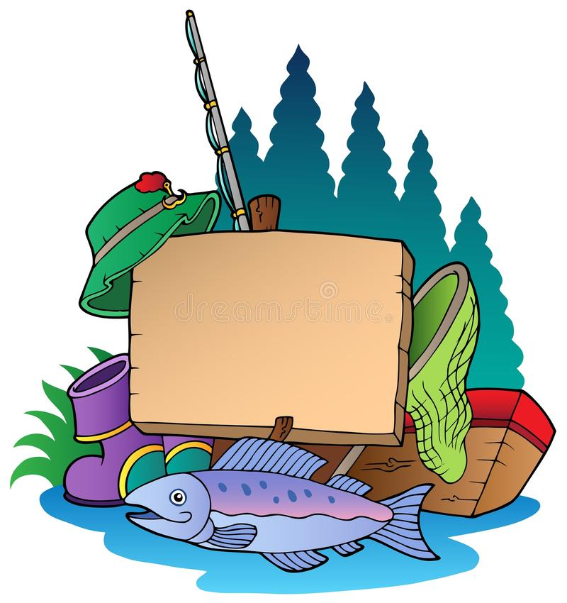 Panneau en bois avec le matériel de pêche illustration libre de droits