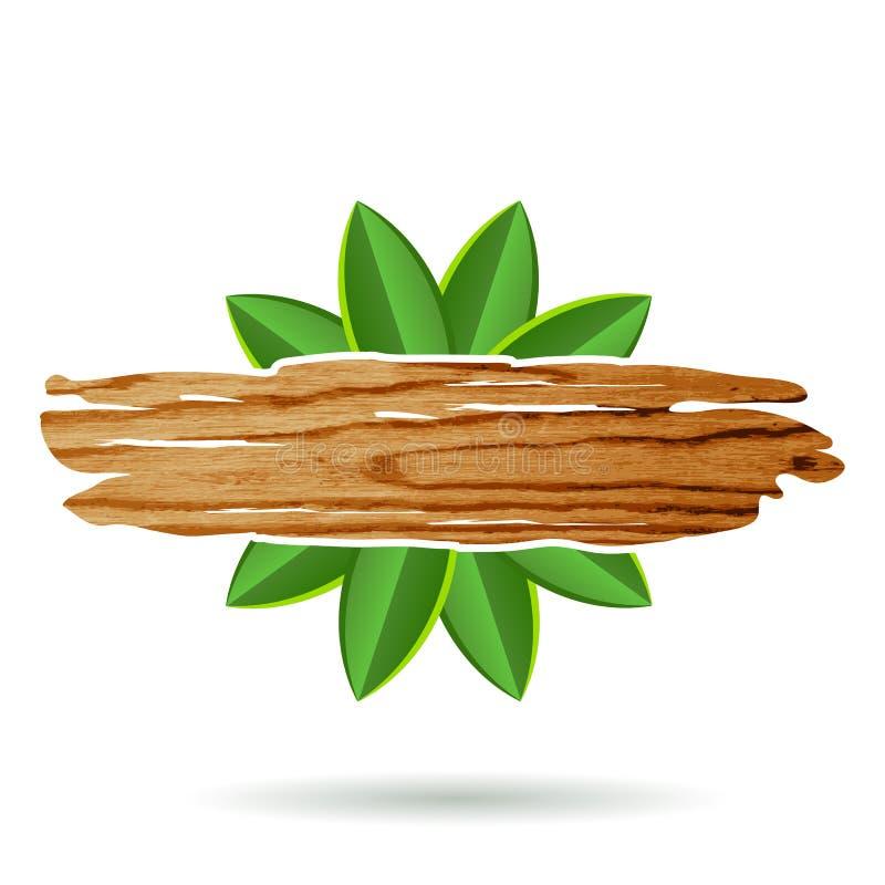 Panneau en bois avec les feuilles vertes, élément décoratif Illus de vecteur illustration de vecteur