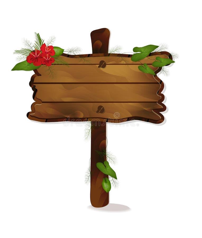 Panneau en bois d'indicateur de vecteur pour le texte avec les fleurs rouges et les feuilles d'isolement sur le fond blanc illustration stock