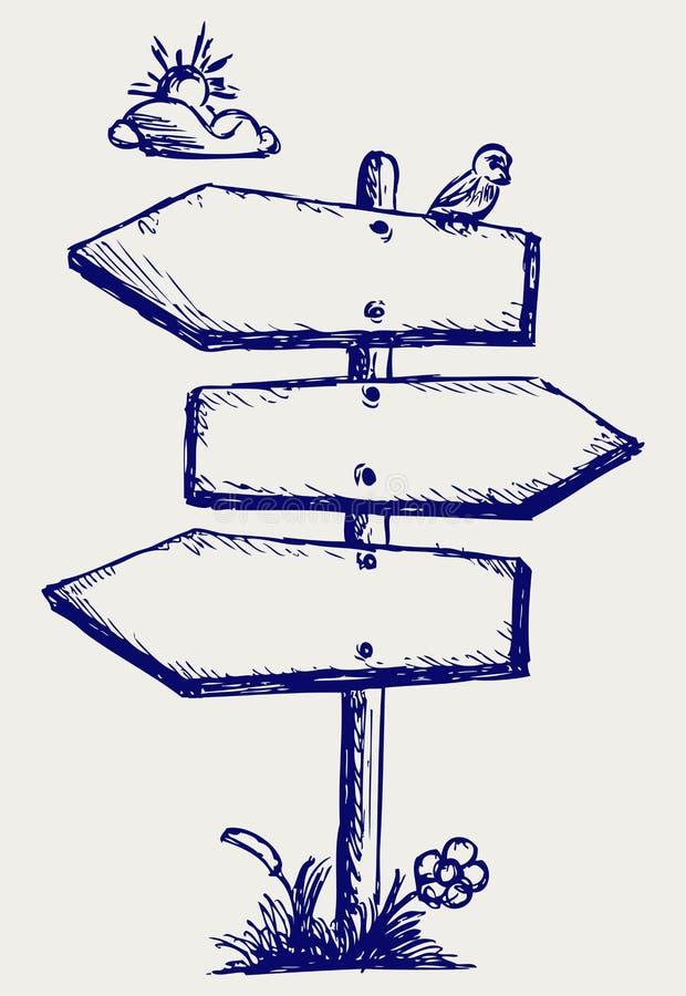 Panneau en bois de flèche illustration de vecteur ...