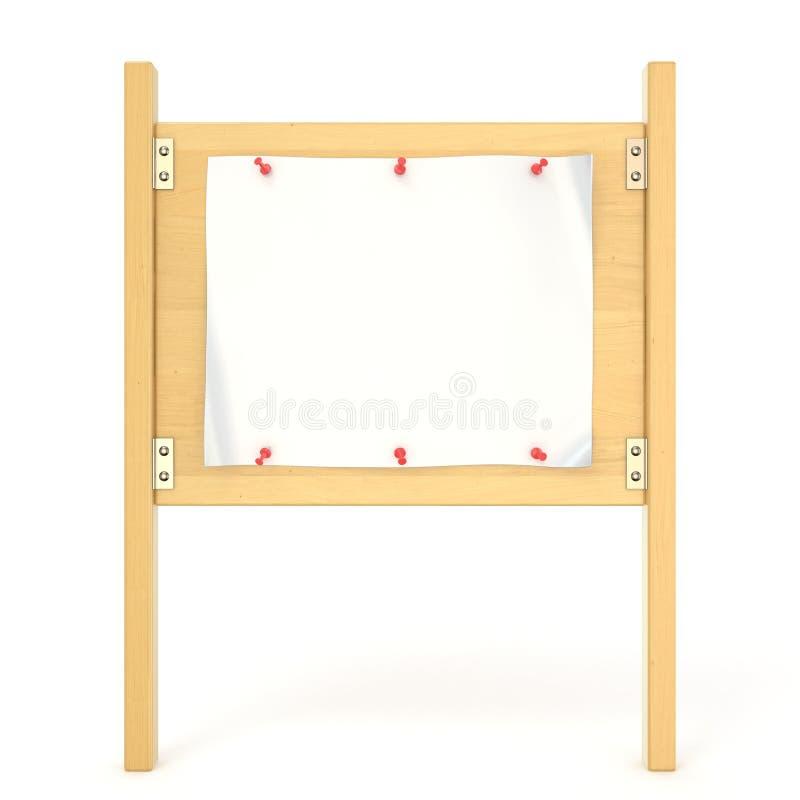 Panneau en bois de signe avec l'affiche vide et la punaise rouge 3d illustration de vecteur