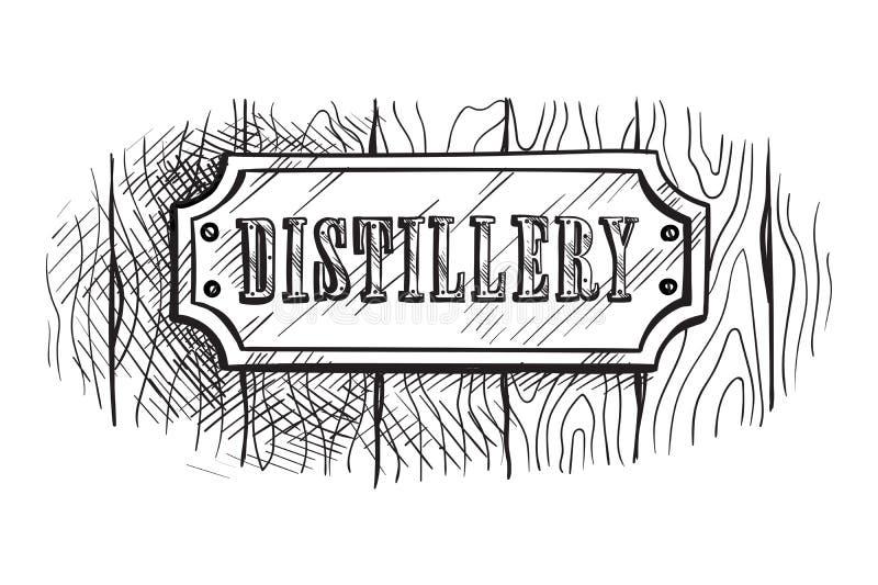Panneau en bois de signe de forme avec la distillerie illustration libre de droits