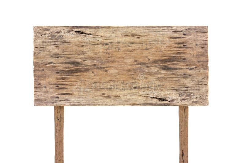 Panneau en bois de signe de rectangle d'isolement sur le fond blanc Vieux panneau en bois de signe d'isolement Panneau indicateur image stock