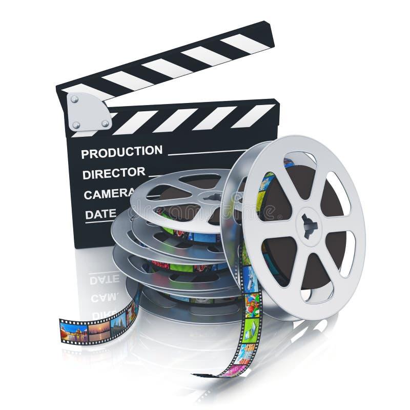Panneau et bobines de clapet avec des filmstrips illustration libre de droits