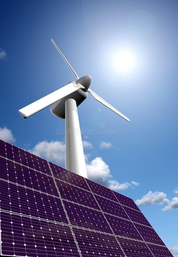 Panneau et centrale à énergie solaire d'énergie éolienne photographie stock