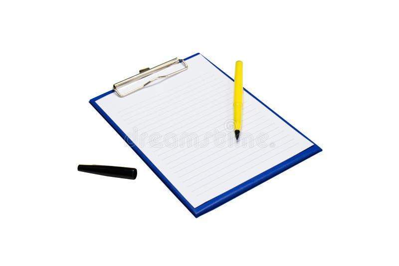 Panneau et stylo d'agrafe sur un blanc images libres de droits