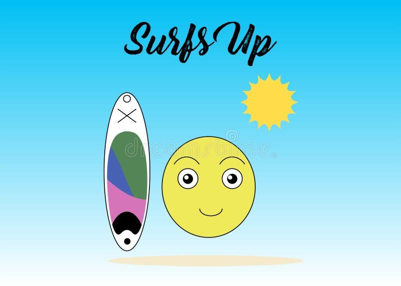 Panneau et Sun de palette avec le visage gai illustration de vecteur
