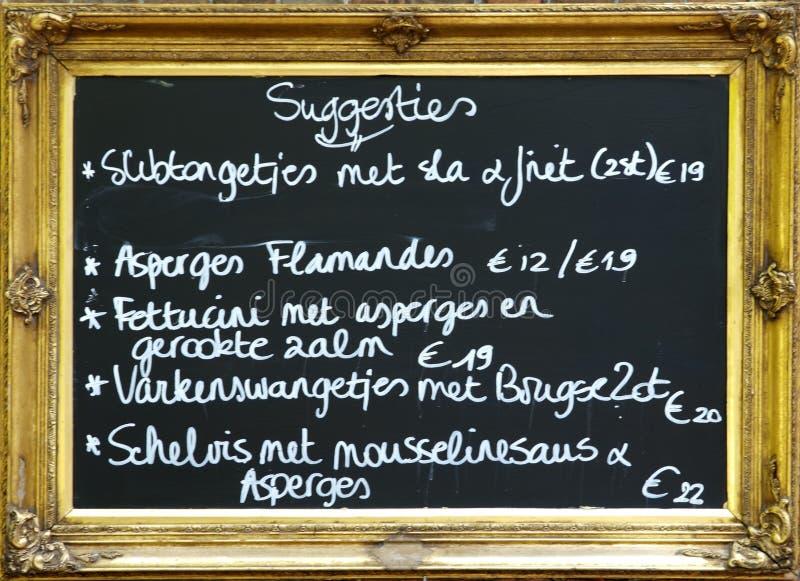 Panneau flamand de restaurant photographie stock