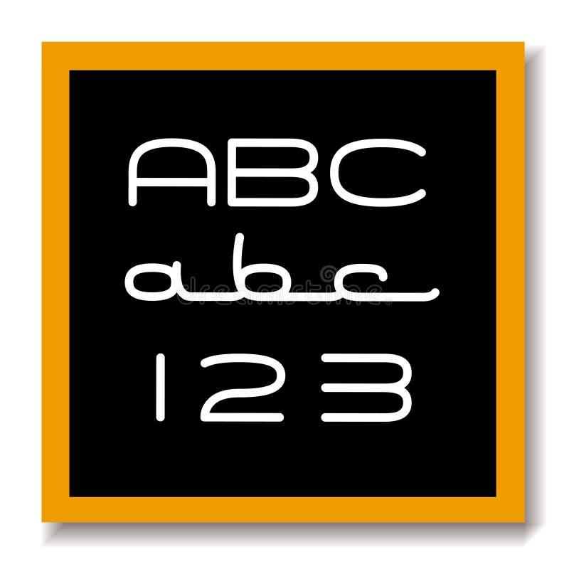 Panneau noir d'éducation d'ABC 123 illustration libre de droits