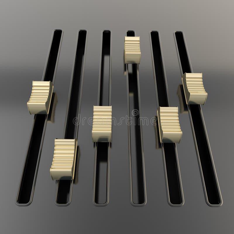 Panneau noir de mélangeur avec les glisseurs d'or illustration libre de droits