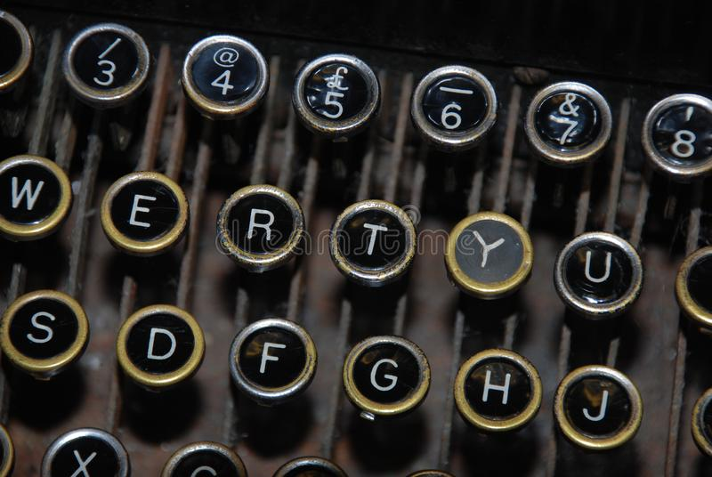 Panneau principal de machine à écrire démodée photos libres de droits