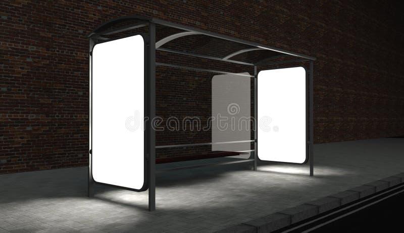 panneau-réclame 3d blanc sur l'arrêt de bus la nuit illustration de vecteur