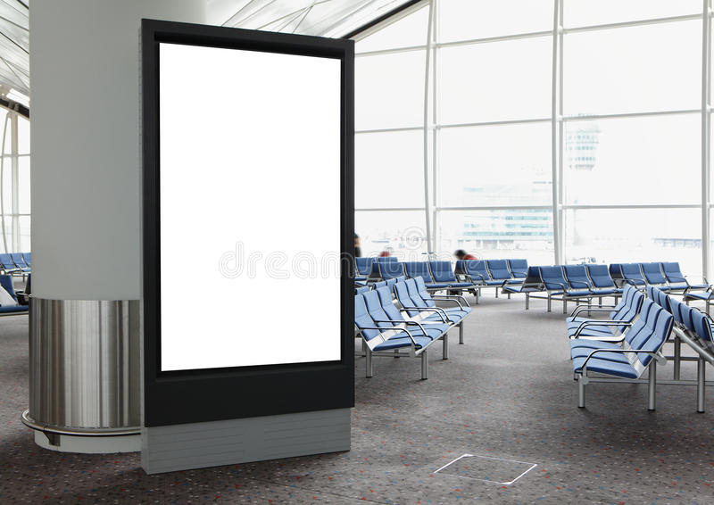 Panneau-réclame blanc dans l'aéroport photos stock