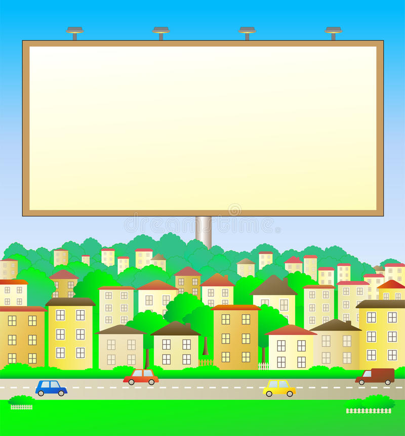 Panneau-réclame dans l'horizontal de ville illustration libre de droits