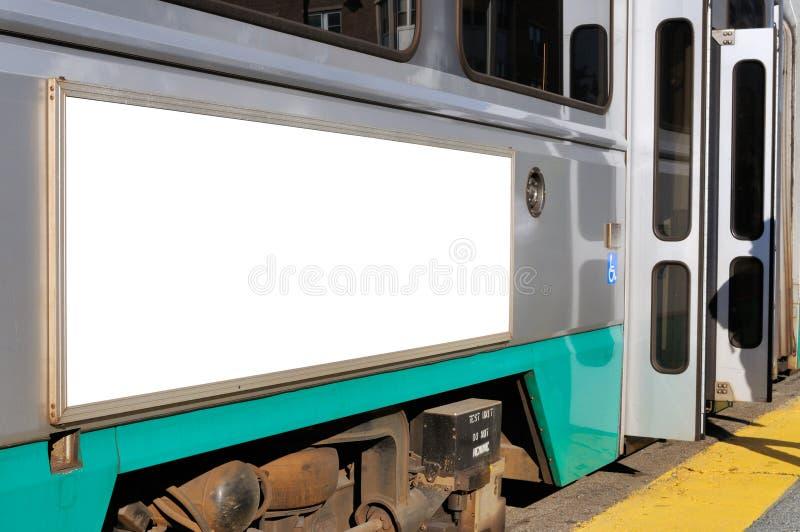 Panneau-réclame sur le tramway photographie stock