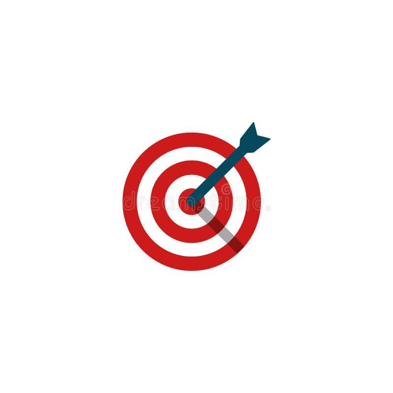 Panneau rouge de cercle de dard de cible avec la flèche dans l'icône plate de vecteur de centre illustration stock
