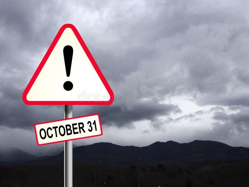 Panneau rouge et blanc de la route triangulaire du Royaume-Uni avec avertissement sur le danger du Brexit Concept d'octobre Ciel  image stock
