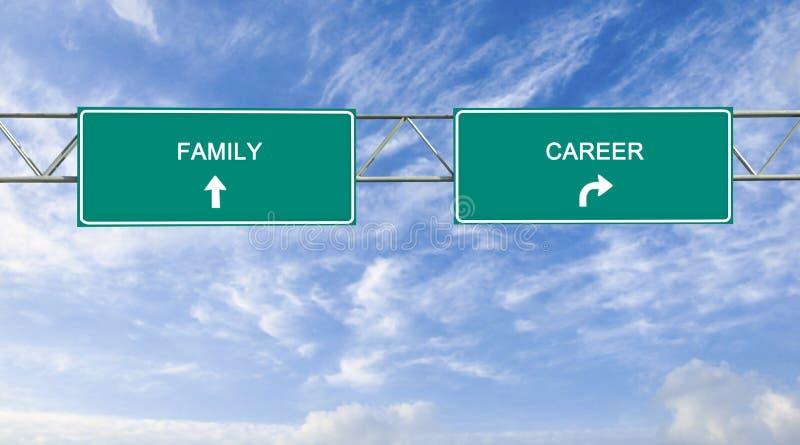 Panneau routier à l'équilibre de carrière de Familiy photos stock