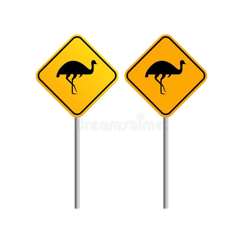 Panneau routier australien de faune d'émeus avec le backg de ciel bleu et de nuage illustration stock