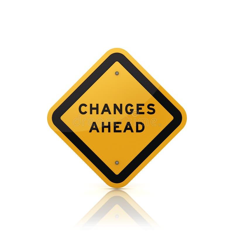Panneau routier avec des mots de CHANGEMENTS EN AVANT illustration libre de droits