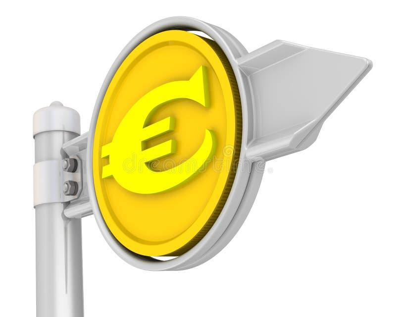 Panneau routier avec l'euro pièce de monnaie illustration stock
