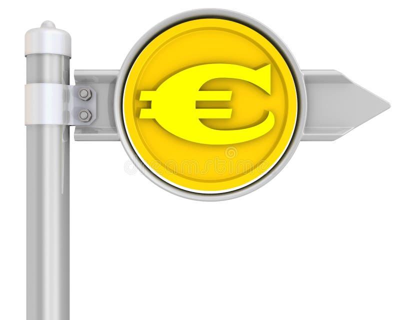 Panneau routier avec l'euro pièce de monnaie illustration de vecteur