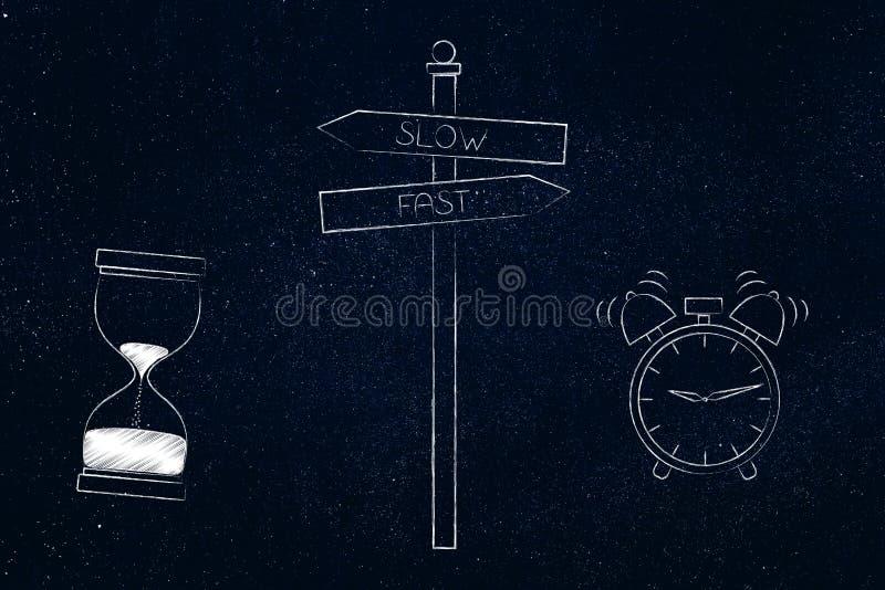 Panneau routier avec le sablier lent ou alarme rapide comme alternative o illustration de vecteur