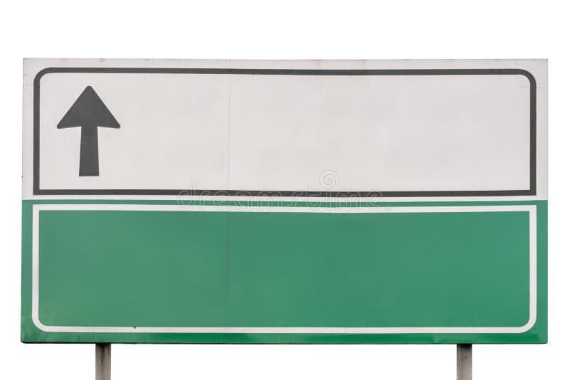 Panneau routier blanc et vert vide d'isolement sur le blanc photos libres de droits