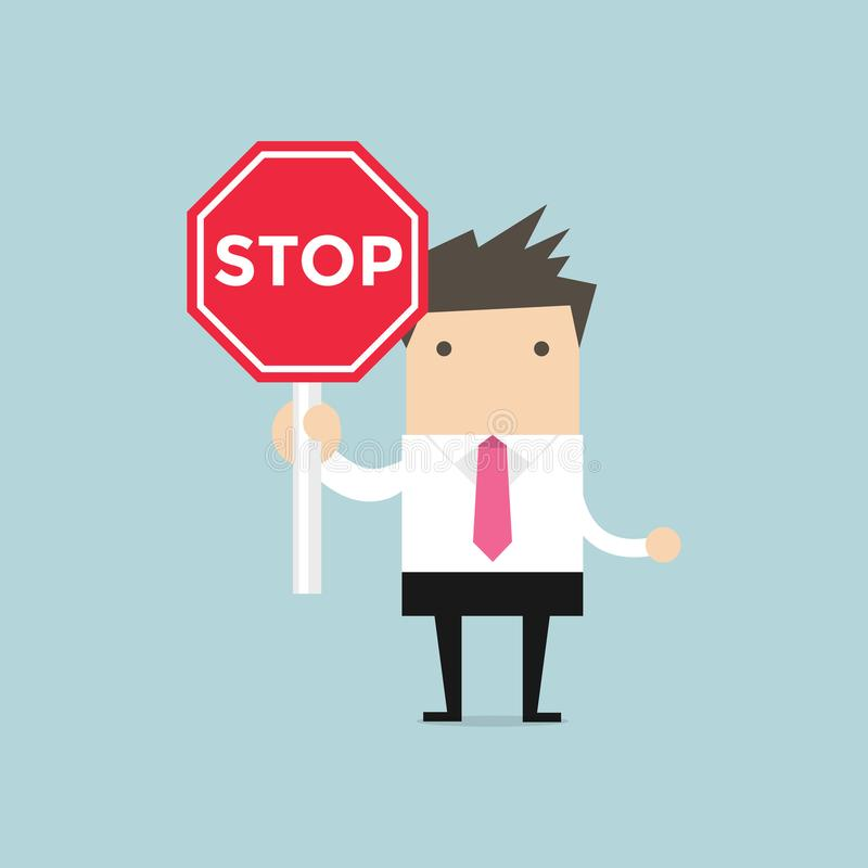 Panneau routier d'arrêt d'apparence d'homme d'affaires Homme d'affaires sérieux avec le panneau routier d'arrêt illustration de vecteur