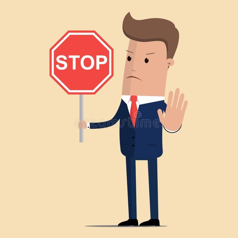 Panneau routier d'arrêt d'apparence d'homme d'affaires Homme d'affaires sérieux avec le panneau routier d'arrêt Illustration de v illustration stock