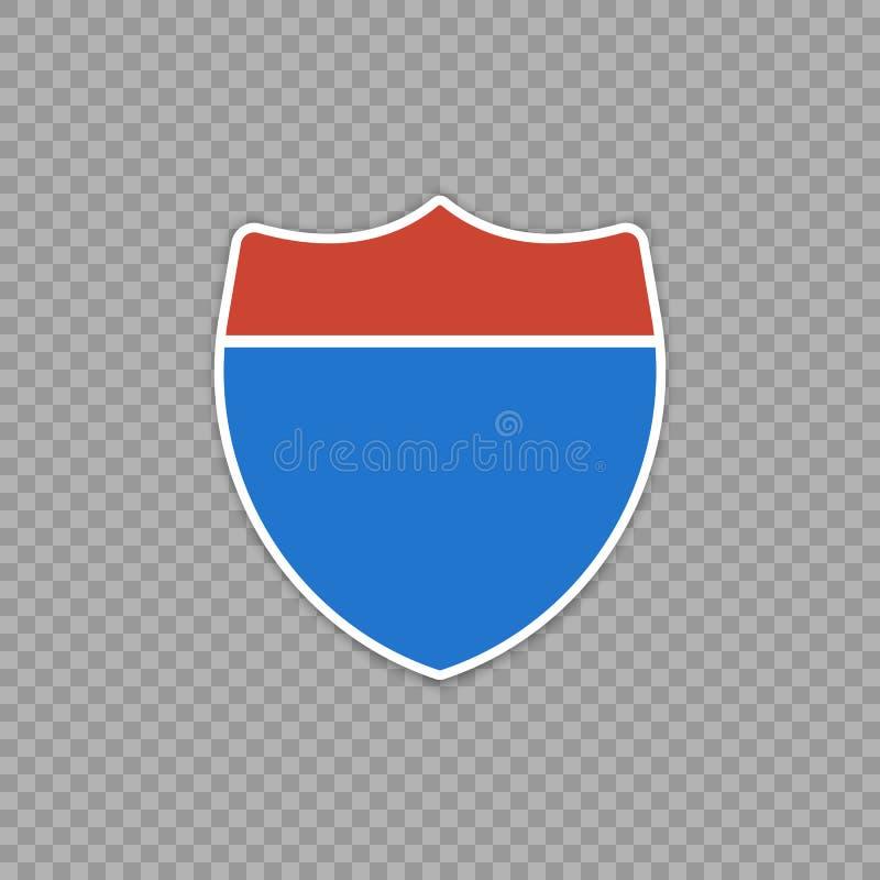 Panneau routier d'autoroute nationale d'isolement sur un fond transparent illustration libre de droits