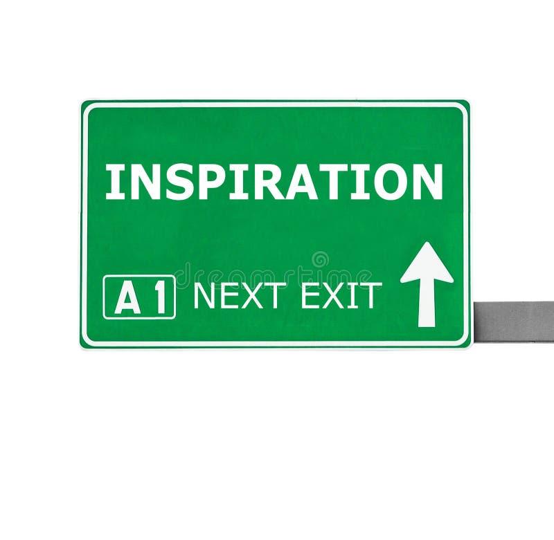 Panneau routier d'INSPIRATION d'isolement sur le blanc image stock