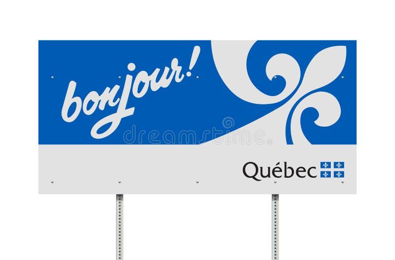 Panneau routier de Bonjour Québec illustration libre de droits
