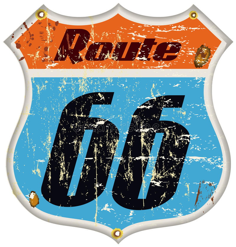 panneau routier de l'itinéraire 66 illustration de vecteur