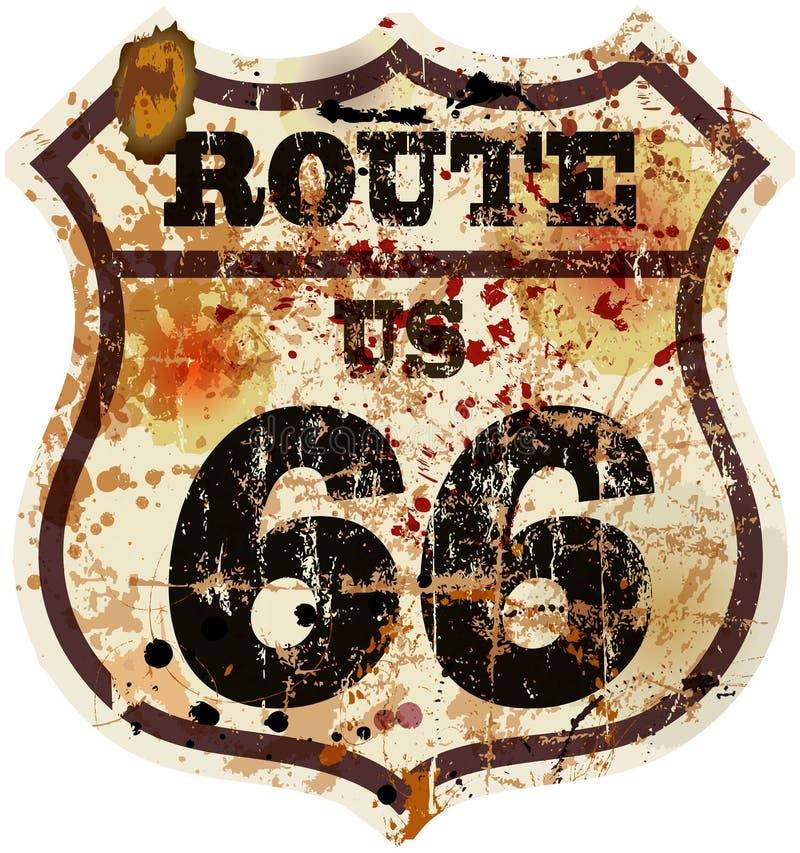Panneau routier de l'itinéraire 66 de vintage illustration de vecteur