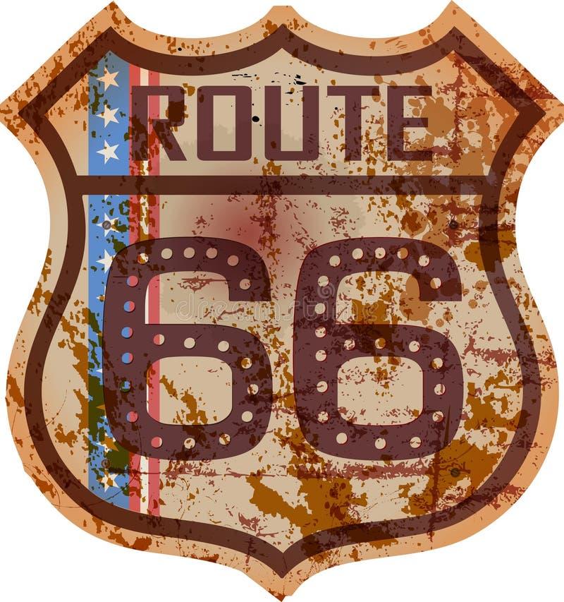 Panneau routier de l'itinéraire 66 de vintage, rétro style, illustration fictive, grun illustration de vecteur