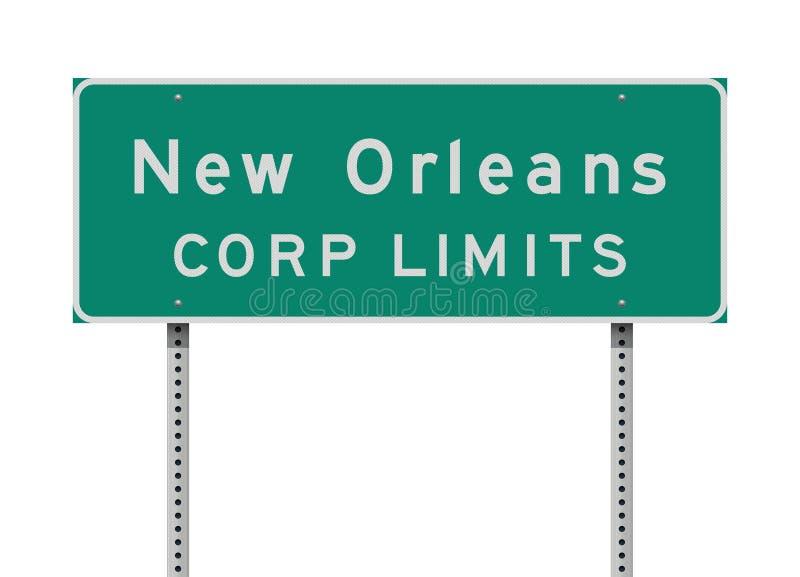 Panneau routier de limite de Corp. de la Nouvelle-Orléans illustration libre de droits