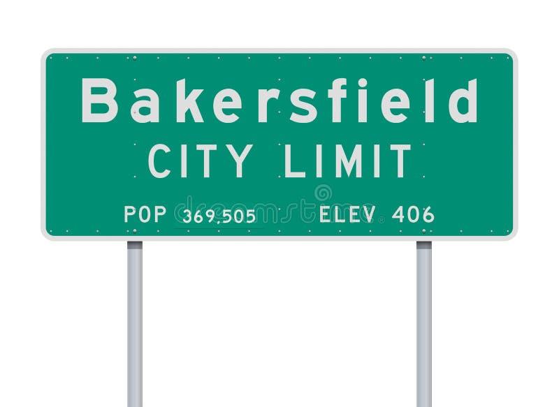 Panneau routier de limite de ville de Bakersfield illustration stock