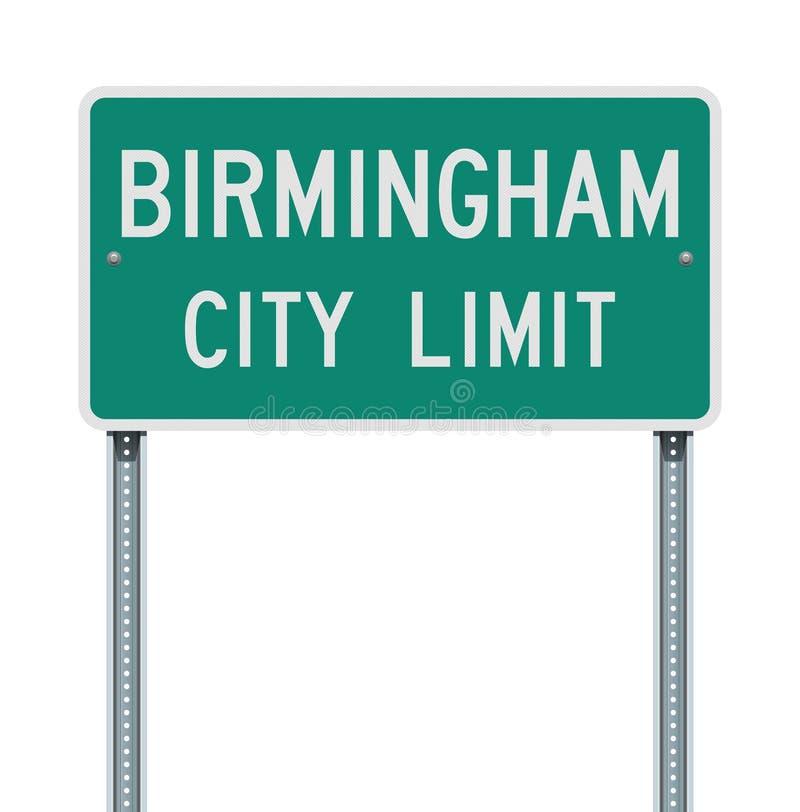 Panneau routier de limite de ville de Birmingham illustration stock