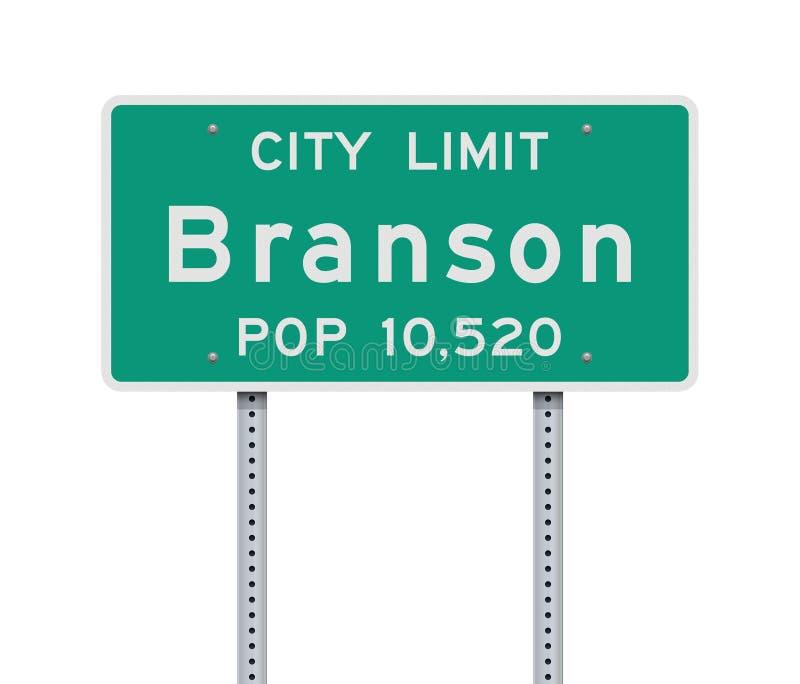 Panneau routier de limite de ville de Branson illustration stock