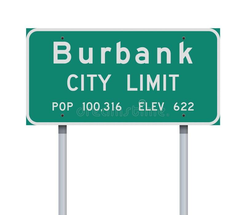 Panneau routier de limite de ville de Burbank illustration stock