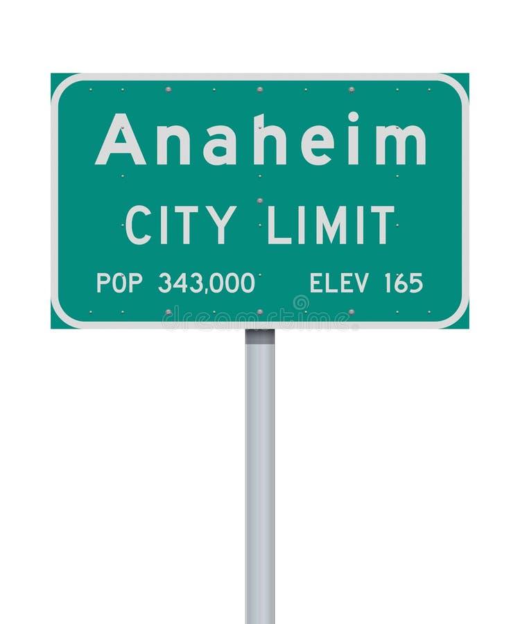Panneau routier de limite de ville d'Anaheim illustration stock