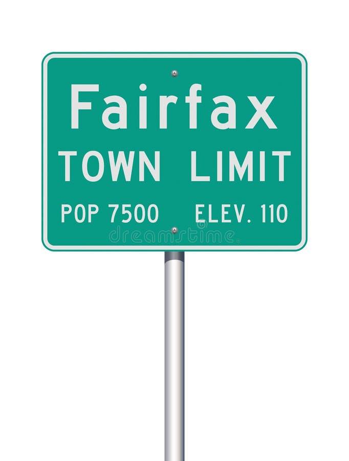 Panneau routier de limite de ville de Fairfax illustration stock